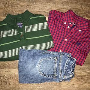 Dress up tops and jeans toddler boy bundle
